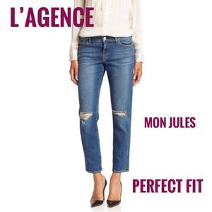 33ed85ab5087e ... L Agence Mon Jules Perfect Fit Distressed Jeans 27 Dolce Vita Karsen  Taupe Beige Suede Ankle Boots ...